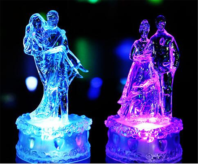 Colorful S Nightlight Acrylic Crystal Lover Lights Led Lamp Lovely Novelty Wedding Gifts Home Decor