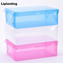 Liplasting Clear/Green/Blue/Rose  Plastic Storage Shoe Boxes Container Organizer Holder Box Store Product Bedroom Store