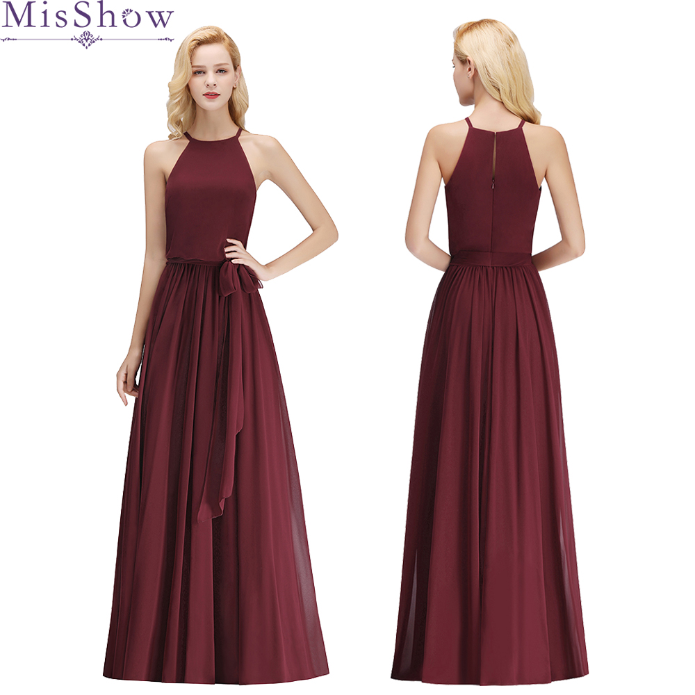 Elegant Halter Long   Bridesmaid     Dress   burgundy green pink Chiffon Wedding Party   Dresses   for   Bridesmaids   2019 Prom Gown with Sash