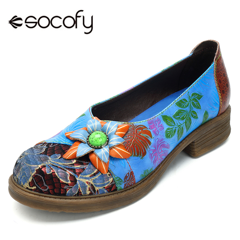 c419cdd79f84 Socofy Basic Flats Genuine Leather Women Shoes Vintage Bohemian Slip on  Large Size Flats Summer Printed
