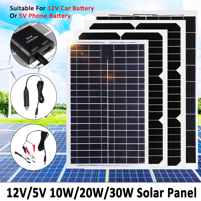 Solar Panel Plate 12V/5V 30W 20W 10W Flexible Solar Charger For Car Battery 12V 5V Phone Battery Sunpower Monocrystalline Cells dhl ems 10 lots contact block 2nc with collar replaces tele zb2bz104 c4 d9