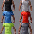 Hot sale men workout fitness bodybuilding t shirt exercise clothing men lycra compression tights tanks shirts crossfit tee tops