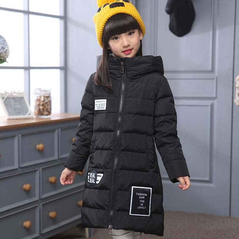 2017 Fashion Children White Duck Down Jackets Girls Princess hooded Down coats casual kids winter ski long outwear for 5-12Years princess kids girls winter jackets and coats 80% white duck down warm thick hooded long down coats for teenage girl clothes 6 14