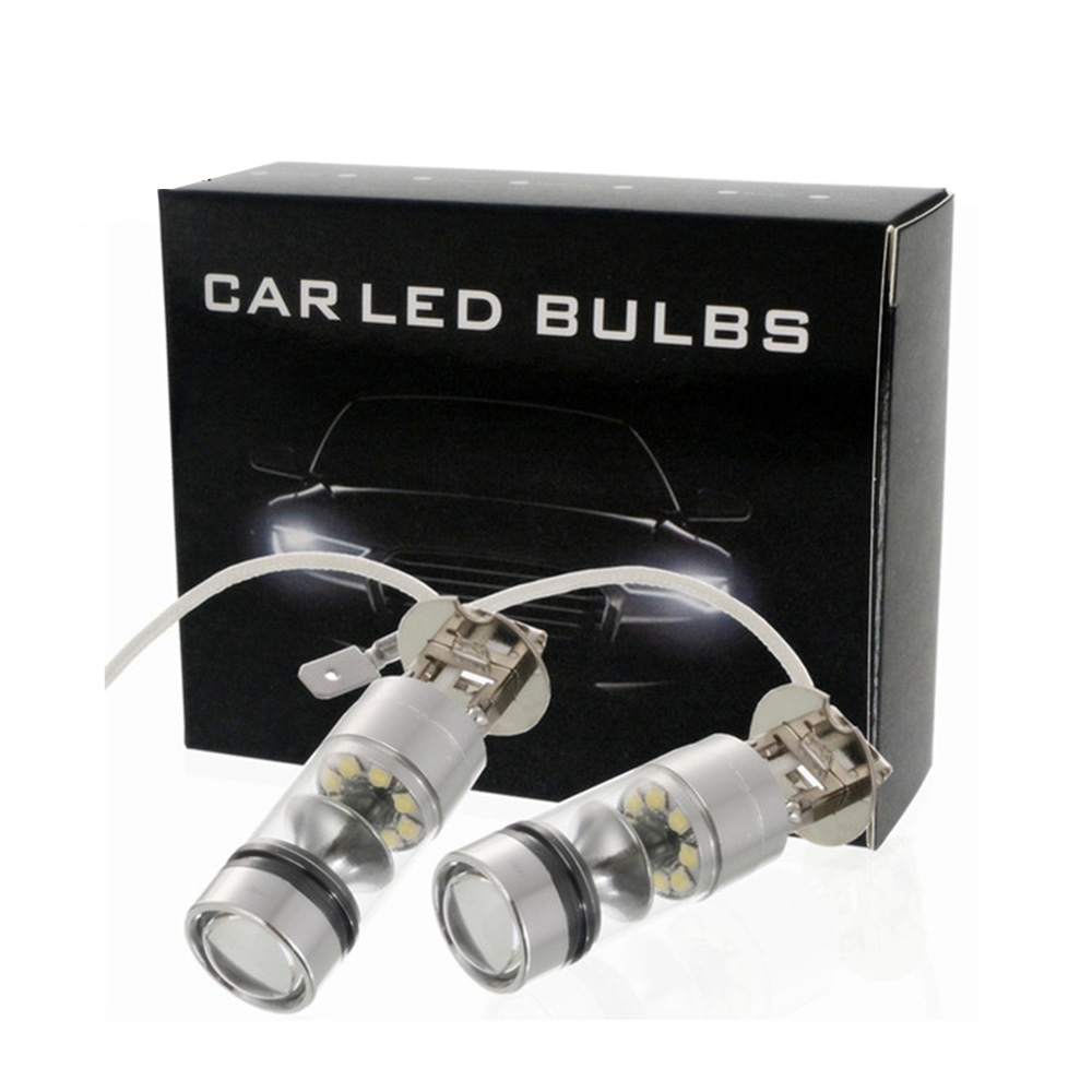 Car Headlight Bulbs(led) Car-styling 2pcs/set H3 100w White Led Car Auto Fog Lights 20led Parking Driving Running Lamp Front Lighting Automobiles & Motorcycles