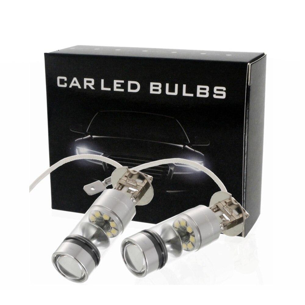 Car-styling 2pcs/set H3 100w White Led Car Auto Fog Lights 20led Parking Driving Running Lamp Front Lighting Car Lights Car Headlight Bulbs(led)