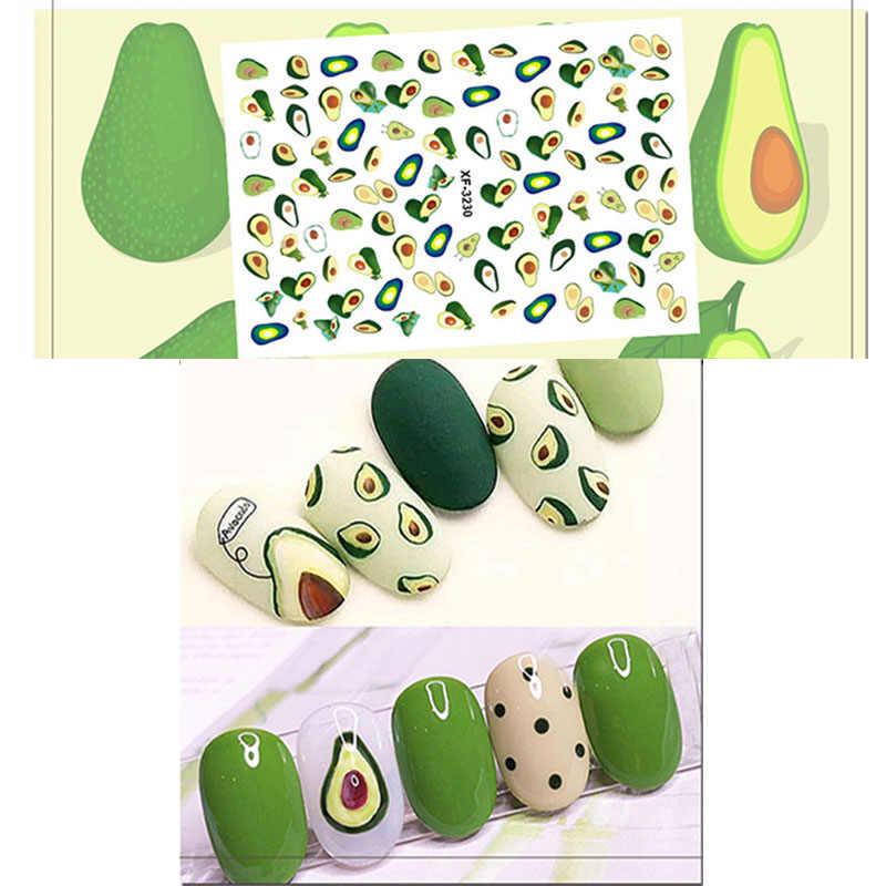 Adesivo de manicure com 5 estilos, estilos de beleza para unhas, arte em unhas, flor, um cacto, abacate, marcação d' água, decalques de transferência