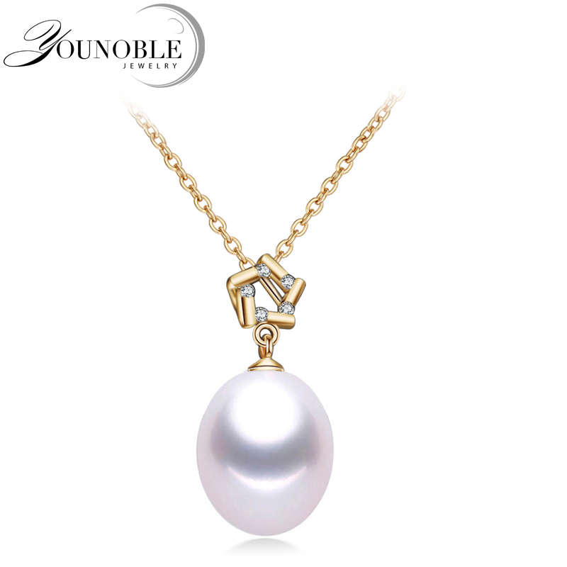 Genuine 18K Gold Pendant Freshwater Water drop Pearl for Women,Trendy 925 Silver Necklace Chain Girl Gift Anniversary in Box P01Genuine 18K Gold Pendant Freshwater Water drop Pearl for Women,Trendy 925 Silver Necklace Chain Girl Gift Anniversary in Box P01