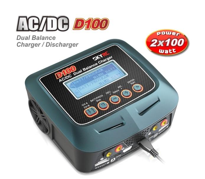 Original SKYRC AC / DC 100-240V 1-6S 2x 100W Dual Balance Charger D100 for RC Model skyrc d100 ac dc dual balance charger discharger for rc models