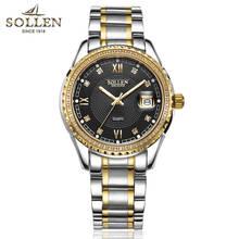 SOLLEN watches men luxury brand diamond men's steel watch fashion quartz watch waterproof Stainless steel luminous