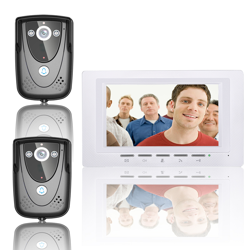 Free Shipping 7'' Wired Video Door Phone Access Control Doorbell Intercom System Kit 2 camera+1 monitor IR Night Vision 817FCB21 free shipping wired 7 color video door phone intercom system 2 white monitor 1 night vision doorbell camera in stock wholesale