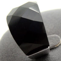 Latest Design Man Woman 18X27mm Natural Faceted Black Agate Gems 925 Sterling Silver Ring Size 7