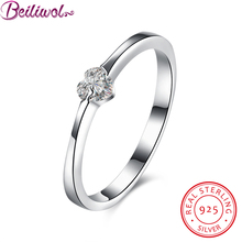 Фотография Real 925 100% Sterling Silver Forever Love Heart Finger Ring Compatible Jewelry wedding ring for female gift size 6 7 8