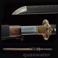 Top Real Clay Tempered Blade Japanese Rosewood Samurai Katana Copper Lion Tusba