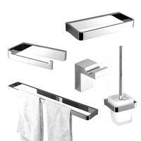 Rolya Luxurious Solid Brass Chrome Finish 5pcs Bath Hardware Set Robe Hook Towel Rack Paper Holder