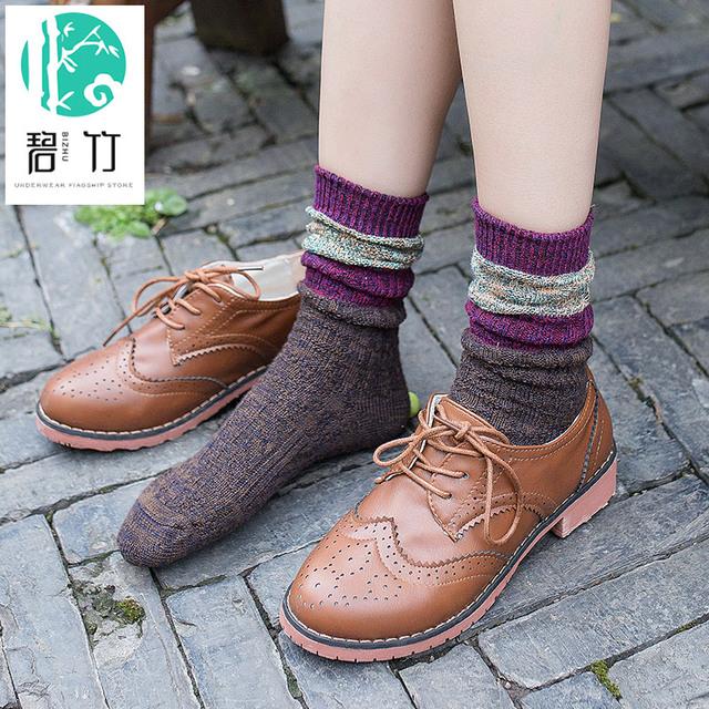 BIZHU mangas de Viento Nacional Femenina Heap Su Viento más Femenina Calcetines de Algodón Qiu Dong del Departamento del Sur de Las Mujeres calcetines