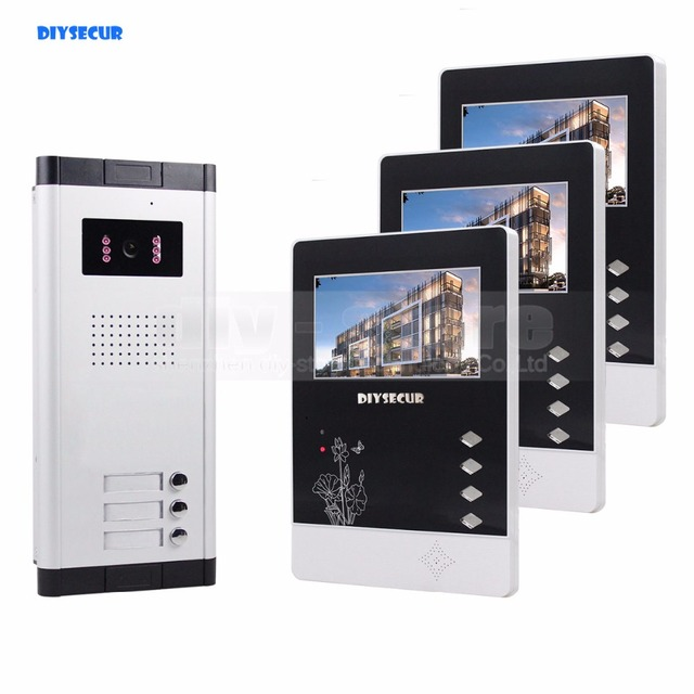"""DIYSECUR 4.3"""" Wired Apartment Video Door Phone Audio Visual Intercom Entry System IR Camera For 3 Families"""