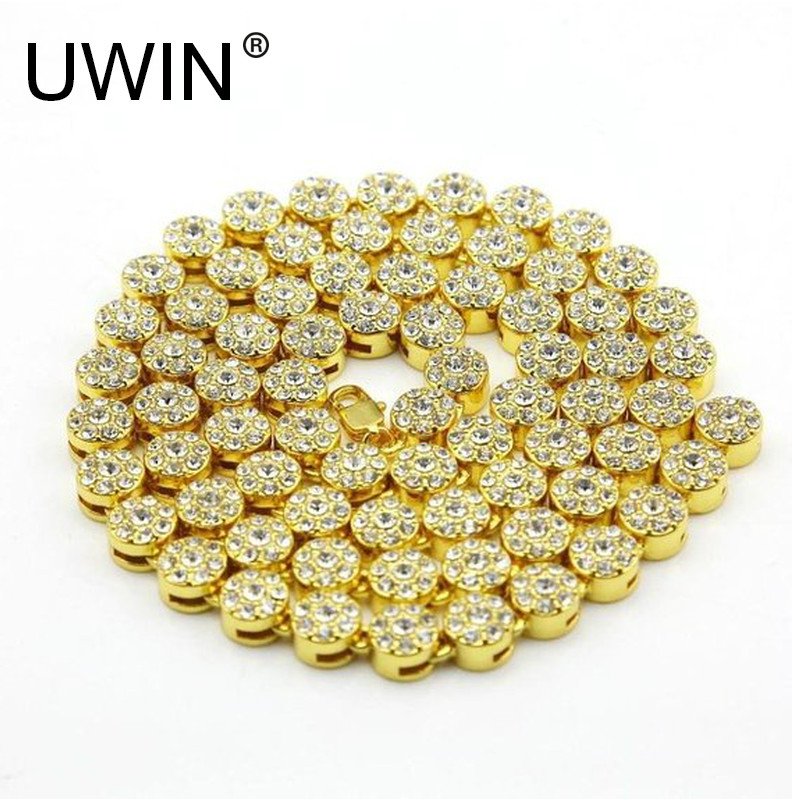 UWIN Men's Iced Out Necklace 1 Row Round Shape Yellow Gold Color Rapper HIP HOP Bling CZ Rhinestone Chain Necklace Punk Jewelry
