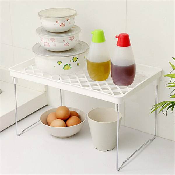 Bathroom:  1 Pcs Storage Rack Shelf Foldable Holder Organizer Stackable Kitchen Bathroom Cupboard LXY9 - Martin's & Co