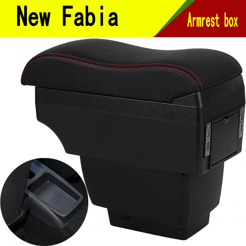 For New Fabia armrest box central Store content Storage skoda Fabia 3 mk3 armrest box with cup holder phone holder USB