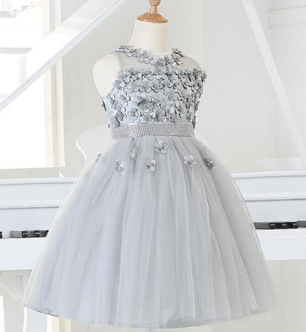 2017 Silver tulle Princess Girl Party Dresses Bead Appliques Tutu Wedding Dress for Christmas Kids Birthday clothes 12M-12Y hot sale white princess girl party birthday dresses tutu wedding dress for christmas with handmade flowers and big bow 12m 12y