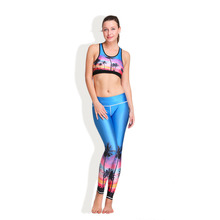 HW2016 NEW Women Yoga Sets Tree Sunset 3D Digital Printing Elastic Capris Breathable Girl Sports Yoga Leggings Suits 8900 Blue