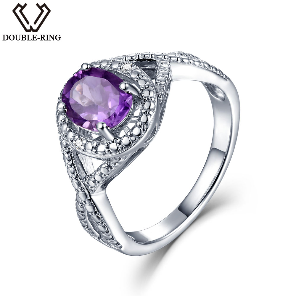 DOUBLE R Natural Diamond Oval Real 1 2ct Amethyst Gemstone 925 Sterling Silver Ring Embroidery