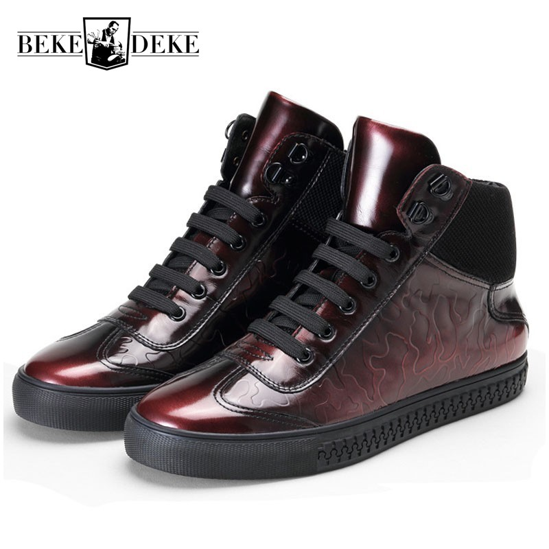 Designer Men Casual Shoes Real Leather 2019 Autumn Winter Candy Color High Top Sneakers Fashion Flat Mens Trainers Red Grey Punk