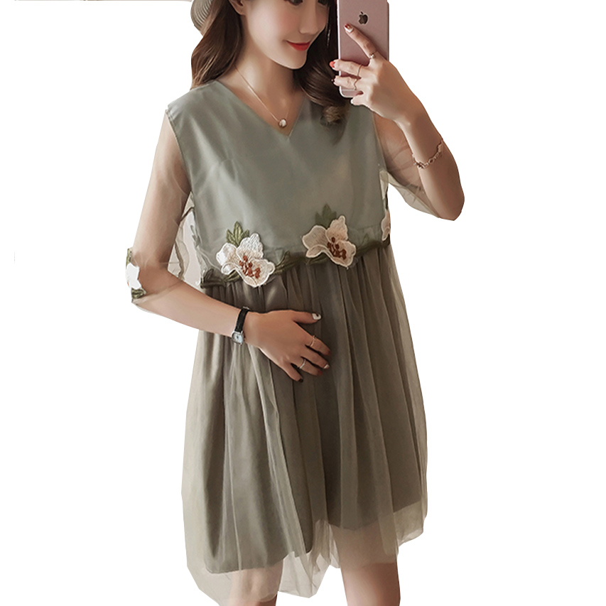 Maternity Dress 2018 Summer Fashion Cute Lace Pregnancy Dresses Lace Flower Embroidery P ...
