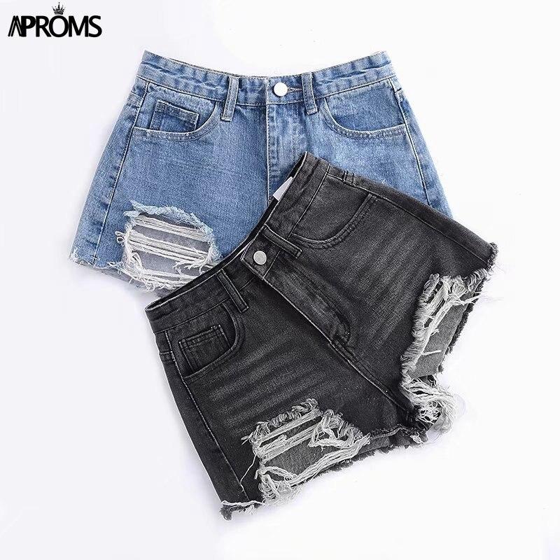 Aproms Vintage Tassel Blue Denim Shorts Women 2019 Sexy Holes High Waist Slim Shorts Cool Girls Summer Streetwear Jeans Shorts