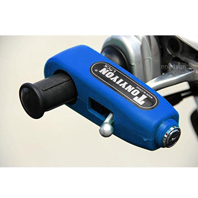 Mais novo de Alumínio CNC Universal Motocicleta Guiador Moto Bloqueio Punho Punho Do Acelerador de Freio de Bloqueio de Proteção Contra Roubo de Bloqueio Azul L2