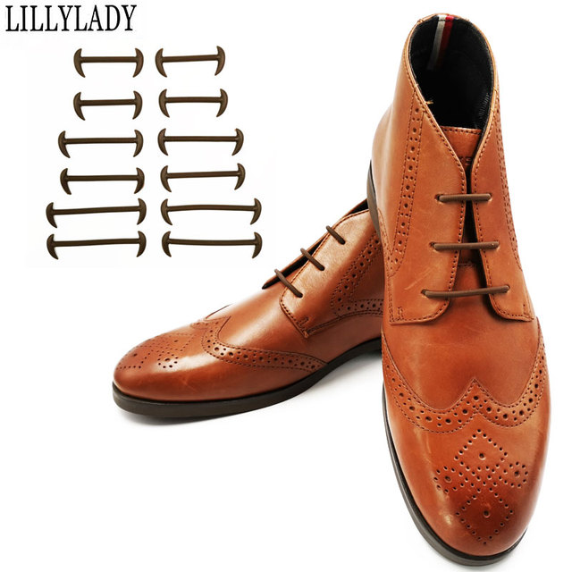 12pcs/set 3 Size Men Women Leather Shoes Rubber Silicone Shoelaces For Shoes Lazy No Tie Shoelaces Elastic Off White Black Brown