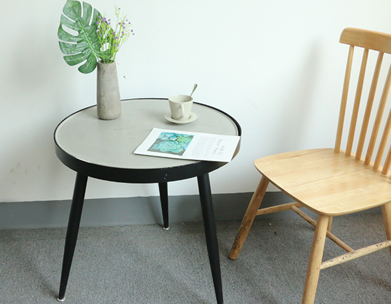 Industrial style leisure table tea table small round table cement concrete table iron triangular legs
