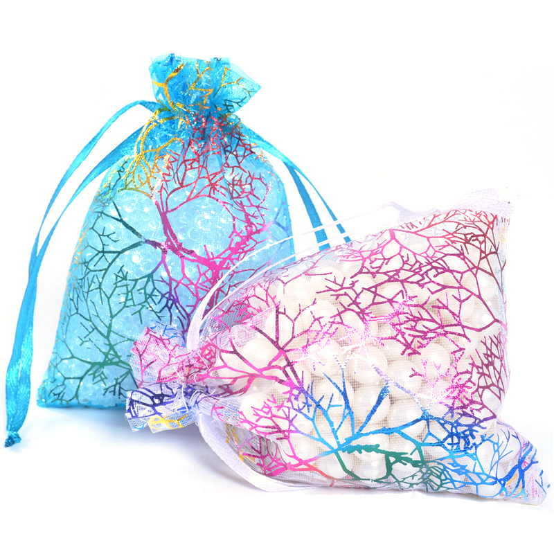 100pcs White Blue Organza Gift Bag 7x9cm/9x12cm/10x15cm/13x18cm Sheer Coralline Jewelry Pouch Packaging Pouches