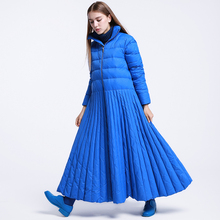 CH261 Original Design Winter 2016 large bottom stand collar long sleeve maxi skirt coat women 95% white duck down jacket