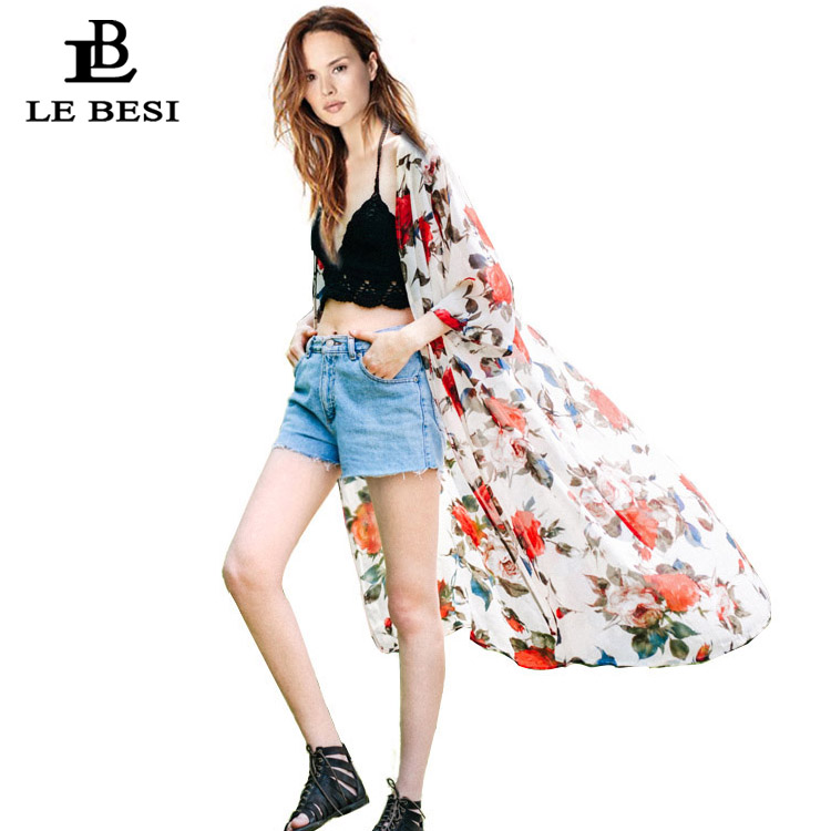 LEBESI 2017 Cover Ups Floral Sexy Swimsuit Cover Women Long Sleeve Wrap Covers Cloak Flower Beach Suit Tropical Chiffon Blouse ...