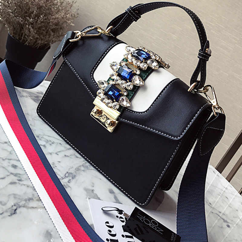 ... Luxury Brand 2018 Winter spring Diamond Gem Women Leather Handbag  Colorful Strap Shoulder Bags Famous ... 24b8837c9d587