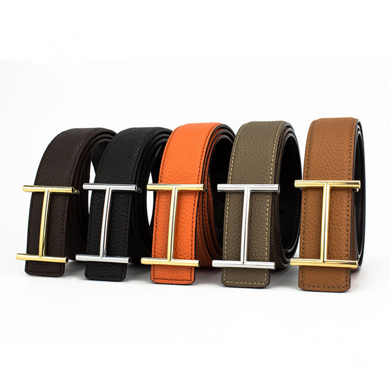 High Quality Mens Leather Belts Luxury H Smooth Buckle Belts For Men 5 Colors Litchi Grain Leather Belt With Box Free Shipping