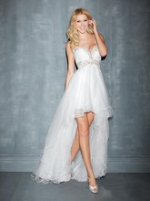 New Arrive SF1180 Sweetheart Beading and stones A-line High-low Wedding Gown