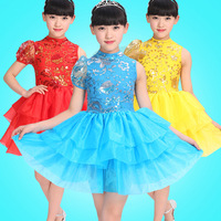 5pcs/lot Free Shipping Kids Girls Ballroom Dance Competition Dresses Dancing Costumes Children Host Dancewear Clothes
