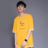 Oversized Men's Custom Uniform Company Team T Shirt Photo Logo Text Print Contrast Stitching Cotton Men Short Sleeve T Shirt Top