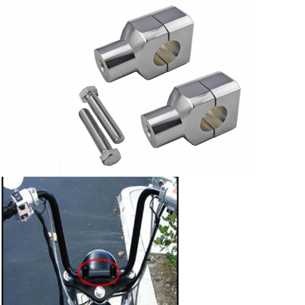 "Motorcycle Chrome Edge Cut 1/"" Handlebar Riser For Honda Yamaha Kawasaki Suzuki"