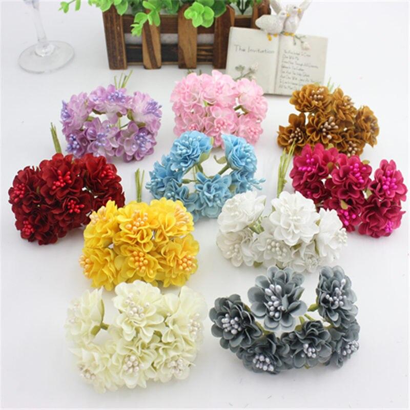 6 шт./лот/партия мини-шелковая искусственная Роза свадебное оформление букета бумажный цветок для DIY скрапбукинга цветочный шар дешевые цветы