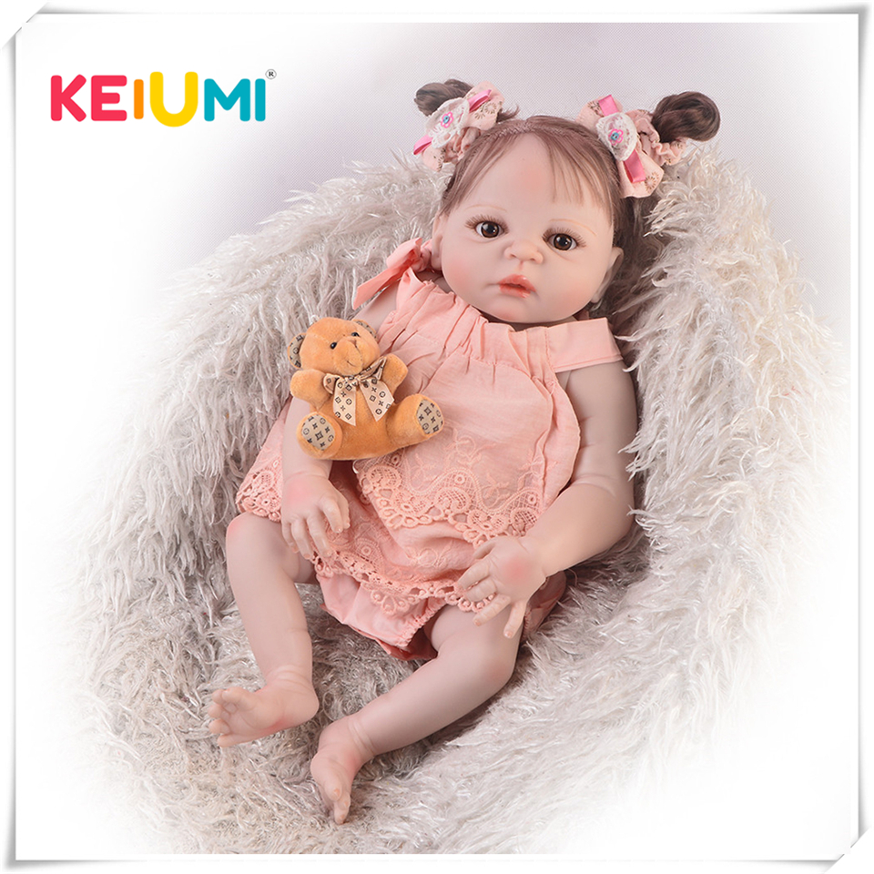 Hot Sale 23 57cm Cute Reborn Dolls Full Silicone Body Realistic Baby Doll With New Hair
