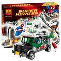 Marvel 10239 Супергероев Мстители Человек-Паук большой Док Ок Грузовик Ограбление Строительный кирпич Блоки Совместимость с Lego