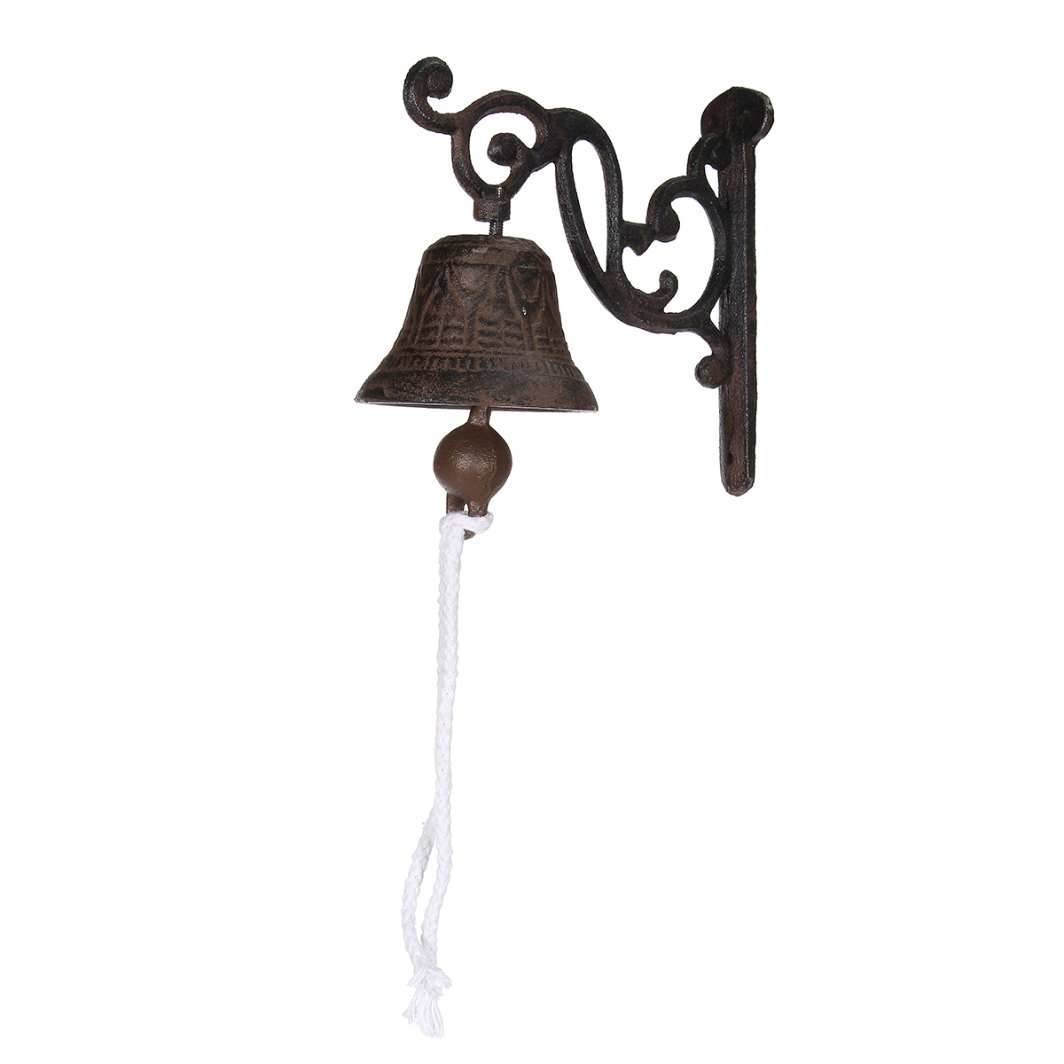 Vintage Style Brown Metal Cast Iron Door Bell Wall Mounted Garden Decoration the ivory white european super suction wall mounted gate unique smoke door