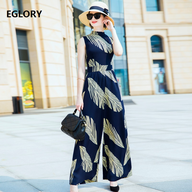 New Plus Size Jumpsuits Women Summer Fashion Golden Leaves Print Sleeveless Straight Wide Leg Full Length Long Jumpsuit Rompers