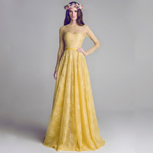B3028 Yellow Lace Long Sleeve See Through A Line Bridesmaid Dresses Vestido De Dama Honor