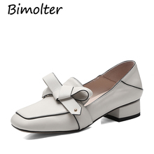 Bimolter New Fashion Genuine Leather Women Pumps Low Heels Comfortable Classic Cow Mary Janes Girls Sweet Shoes LCEB009
