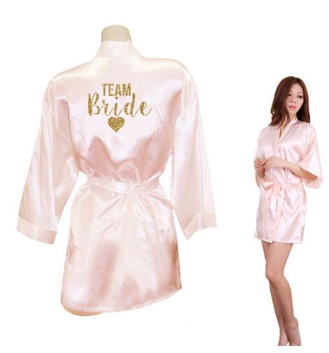 Kimono Robe Faux Silk Women Wedding Preparewear Bride Team Heart Golden Glitter Print Robes Bachelorette Pajamas Free Shipping(China)