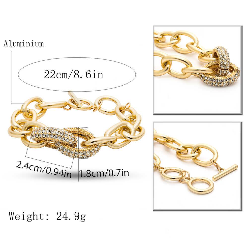 IngeSight. Z Punk Curb Cuban gruesas pulseras brazaletes cadena para la muñeca Charm pulsera de cristal de lujo para mujeres y hombres joyería
